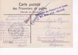Carte Postale Militaire Prisonniers En Suisse Vers Ostiches Lez Ath 27 05 16 - Prisonniers