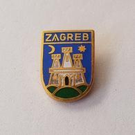 CROATIA CITY ZAGREB  COAT OF ARMS  INSIGNE BROCHE PIN BADGE DISTINTIVO - Cities