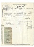 F108 - Facture Rechnung 1927 Les Brenets Confiserie Et Chocolats Noz & Cie Pour Schulthess Sierre - Suisse