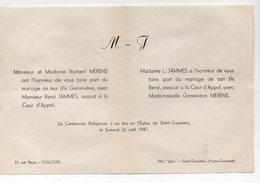 Saint Gaudens (31 Haute Garonne) Faire-part Mariage JAMMES-MERENS 1947 (PPP16752) - Wedding