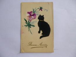 Animaux.  Chat Noir Feutré. - Fancy Cards