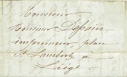Précurseur 26/6/1847 Lettre Envoyée Par Porteur De GRIVEGNEE à LIEGE - Signé J.B.J.F. ADAM - 1830-1849 (Belgique Indépendante)