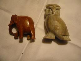 Eule Und Elefant - Aus Speckstein (735BW) - Autres
