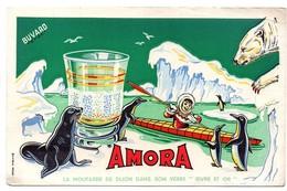 Buvard Amora Moutarde De Dijon Animaux De La Banquise Phoque Pingouins Ours Blanc - Alimentaire