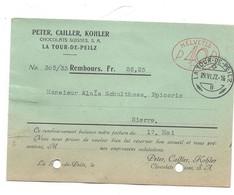 F113 - Facture Rechnung 1927 La Tour De Peilz Peter Cailler Kohler Pour Schulthess Sierre + Cachet Machine à Affranchir - Suisse