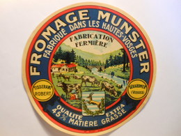 TGE88020 - étiquette De Fromage Munster Avec Vaches Cerf - TISSERANT ROBERT à GERARDMER Vosges 88 - Fromage