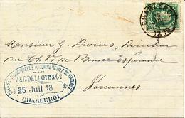 """BELGIQUE LETTRE DE CHARLEROI """"CAISSE INDISTRIELLE ET COMMERCIALE DU HAINAUT""""1863 VERS FARCIENNES - 1869-1883 Leopold II"""