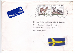 1992  , Suede To Moldova , Animals  ,used Letter - Sweden