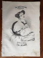 Partition Ancienne Guitare Romance LE SOUVENIR Mme J.L.van Gennep E.R. Marx Lithographie JV.L. - Partitions Musicales Anciennes