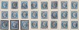 N°22, 24 Exemplaires Avec 1 Filet Partiellement Dédoublé, Pas Courant - 1862 Napoleone III