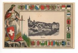 BADEN Präge Litho Helvetia Wappen 22 Kantone - AG Argovie