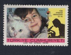 700007092 TURKEY  POSTFRIS MINT NEVER HINGED POSTFRISCH EINWANDFREI  SCOTT  1759 CHILD AND ANGORA CAT MAN WITH MICROSCOP - 1921-... République
