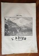 Partition Ancienne Guitare Mélodie L'ADIEU C.M. Weber Lithographie - Partitions Musicales Anciennes