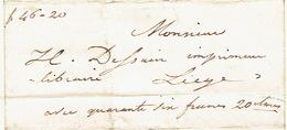 """Précurseur Du 5/5/1847 + Manuscrit """"avec 46frs 20 """" Par Le Voiturier LAFONTAINE De HOUFFALIZE à LIEGE - Signé BIERME - 1830-1849 (Belgique Indépendante)"""