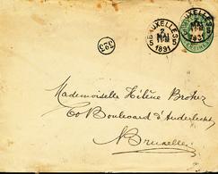 BELGIQUE EP DE BRUXELLES 1891 VERS BRUXELLES - 1869-1883 Leopold II