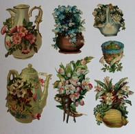 7 Grande Image Découpis Fleurs Bouquet De Fleurs Dans Vase Carafe Panier Composition Florale - Flowers
