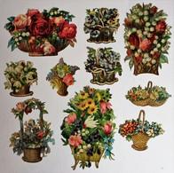 10 Grande Image Découpis Fleurs Bouquet De Fleurs Dans Panier Composition Florale - Flowers