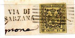 ASI36 - MODENA 1852 , 15 Cent  N. 3 Usato . VIA SARZANA - Modena