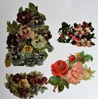 4 Grande Image Découpis Fleurs Bouquet De Fleurs Composition Florale Pensées Roses - Flowers