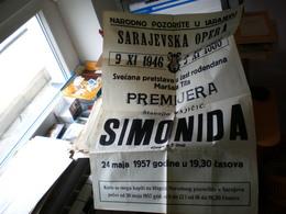 Old Poster Plakat Theater Big Narodno Pozorise U Sarejevu Opera Simonida 1957 - Affiches