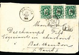 BELGIQUE DEVANT DE LETTRE DE JEMAPPE 1869 VERS PARIS BUREAU D'ECHANGE BELG. A ERQUELINNES - 1869-1883 Leopold II.