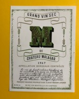 9693 - Grand Vin Sec De Château Malagar 1967 - Bordeaux