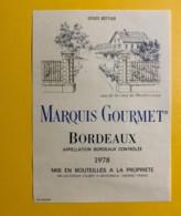 9699 - Marquis Gourmet 1978 - Bordeaux