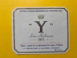 """9706 - """"Y"""" Lur-Saluces 1973 Spècimen - Bordeaux"""