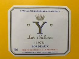 """9707 - """"Y"""" Lur-Saluces 1978 Spécimen - Bordeaux"""