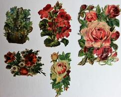 5 Grande Image Découpis Fleurs Bouquet De Fleurs Composition Florale Roses - Flowers