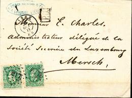 BELGIQUE LETTRE DE LIEGE 1871 VERS LE GRAND DUCHE DE LUXEMBOURG AMBULANT PAR BXL -ARLON - 1869-1883 Leopold II