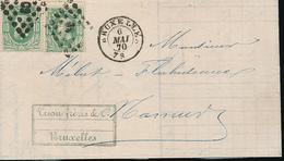 BELGIQUE LETTRE DOUBLE PORTS DE BRUXELLES 1870 VERS NAMUR - 1869-1883 Léopold II