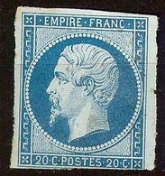 NAPOLEON N°14 A 20c Bleu NEUF Sans GOMME - 1853-1860 Napoléon III