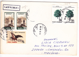 1998 , Roumanie To Moldova , Birds , Churches , Postal History , Used Cover - 1948-.... Républiques