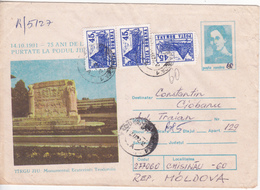 1991 , Roumanie To Moldova , Monument From Ecaterina Teodoroiu  , Used Pre-paid Envelope - 1948-.... Republics