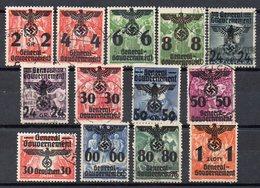 POLONIA 1939 Occupazione Tedesca - 13 Francobolli Sovrastampati Timbrati - Timbres