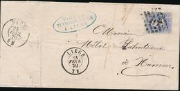 BELGIQUE LETTRE LIEGE 1870 VERSNAMUR DOUBLE PORTS - 1869-1883 Leopold II