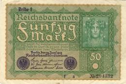 Germany  50 Mark  Reichsbanknote 1919 - [ 3] 1918-1933: Weimarrepubliek