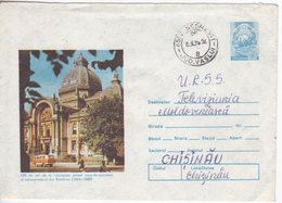 1989 , Roumanie To Moldova , 125 Years - The First Bank In Romania  , Used Pre-paid Envelope - 1948-.... Republics
