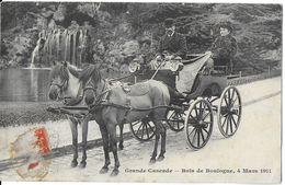 PARIS 75 SEINE GRANDE CASCADE BOIS DE BOULOGNE 4 MARS 1911 CALÈCHE ATTELAGE 2 CHEVAUX   JCT&DG - Parcs, Jardins