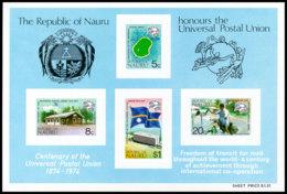 Nauru, 1974, UPU Centenary, Universal Postal Union, United Nations, MNH, Michel Block 1 - Nauru