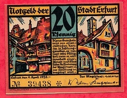 Allemagne 1 Notgeld De 20 Pfenning  Stadt Erfurt (RARE) UNC N °2993 - [ 3] 1918-1933 : République De Weimar