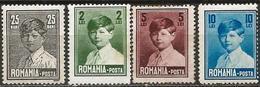 Romania 1928-29 Scott 320 324 326 328 MNH (5L MNG) Large Format King Mihai / Michael - Nuevos