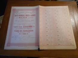 """Part Fondateur""""Hauts Fourneaux,forges & Aciéries De Malaga""""Espagne Anc;Ferreria Heredia Marchienne Au Pont 1899 N°3186 - Industrie"""