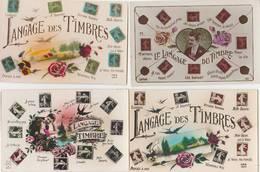 """4 CPA GLACÉES:THÈME """"LE LANGAGE DU TIMBRE"""",""""LANGAGE DES TIMBRES"""" - Timbres (représentations)"""