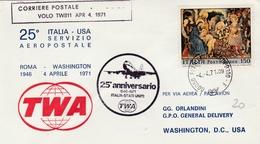 Roma Fiumicino 1971 - 25 Anniversario Italia USA Via TWA - Boeing 747 - 6. 1946-.. Republic