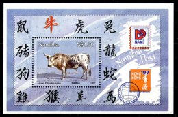 Namibia, 1997, Cattle, Ox, Hong Kong Stamp Exhibition, MNH, Michel Block 26 - Namibie (1990- ...)
