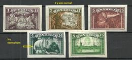 LETTLAND Latvia 1932 Michel 193 - 197 B Incl 2 Marken Mit WM 5 Y (normal) * - Lettonie