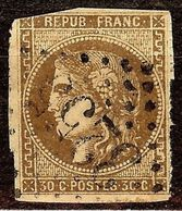RARE BORDEAUX N°47d 30c Brun Foncé Losange GC + PERCE EN LIGNE Cote 1850 Euro - 1870 Emission De Bordeaux