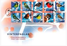 Sweden 2018 FDC  Winter Birds Bullfinch Tit Bouvreuil Mesange Etc.. - Altri